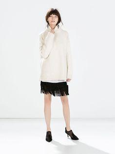 Oversized Knit + Fringe Skirt // Zara Fringed Skirt + Zara Knit Square Sweater