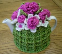 4-6 Cup Crochet Tea Cosy/ Tea Cozy/ Cosy/ Cozy  - Green with flowers (Ready to ship)