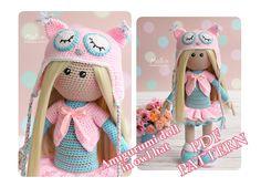 Crochet Doll Pattern Amigurumi Doll pattern Doll Amigurumi Tutorial Doll Toy PDF Pattern in English Crochet blond doll in owl hat pattern by MollisToys on Etsy https://www.etsy.com/il-en/listing/530526809/crochet-doll-pattern-amigurumi-doll