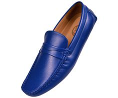 Amali Mens Royal Blue Smooth Penny Loafer Driving Moccasin Shoe Donner-052 #Amali #DrivingMoccasins