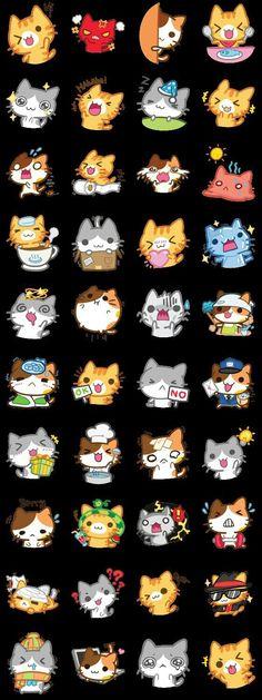 Them kawaii kitties Griffonnages Kawaii, Chat Kawaii, I Love Cats, Crazy Cats, Cute Cats, Kawaii Stickers, Cute Stickers, Neko, Art Mignon