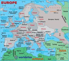 Europe Map - Map of Europe, Europe Maps of Landforms Roads Cities Counties States Outline - World Atlas
