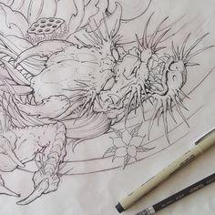 C Tattoo, Dragon Sketch, Japanese Dragon Tattoos, Dragon Sleeve, Asian Tattoos, New Dragon, Dragon Artwork, Dragon Tattoo Designs, Tattoo Sketches