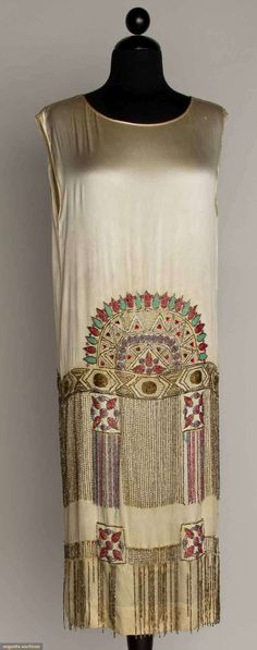 BEADED WHITE FLAPPER DRESS, 1920s Silk satin, beaded in turquoise ...