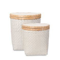 Netted Laundry Hampers w/Lid S/2 | Citta Design