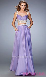 Long Chiffon Sweetheart Two Piece Prom Dress by La Femme at PromGirl
