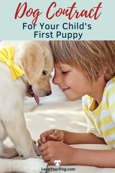 Puppy Contract For Kids: A Fun Commitment to Owning a Dog Dogs And Kids, R Dogs, Dogs And Puppies, Dog Training Techniques, Dog Training Tips, Dog Psychology, Really Cute Dogs, Living With Dogs, All Types Of Dogs