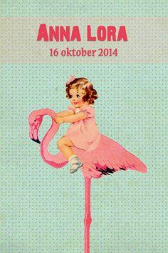 Geboortekaartje meisje - retro - Pimpelpluis - https://www.facebook.com/pages/Pimpelpluis/188675421305550?ref=hl (# retro - popje - flamingo - meisje - paper doll - lief - roze - schattig - origineel)
