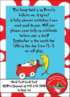 since i was a dr seuss nursery when i have kids this would be the perfect baby shower invite