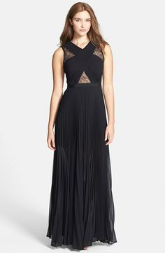 BCBGMAXAZRIA 'Caia' Lace Inset Pleat Chiffon Gown available at #Nordstrom