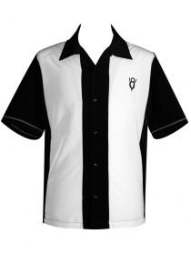 Mens Black Cream Panel V8 Embroidered Button Up Hot Rod Shirt