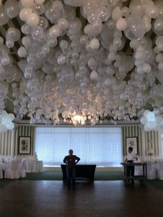 To get balloons to hang upside down put a marble inside before blowing up. Amazing!  Cheap decorations