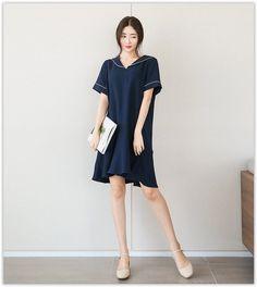 Seoul Fashion - Sailor-Collar Contrast-Trim #Dress #Korean Fashion