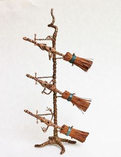 D/house Miniature Magical Baby Broom Stand 1/12th H/made Witch Wizard CWM