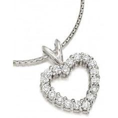 Pandantiv Aur Alb 18kt cu Diamante Rotund Briliant Asezate in Forma de Inima - RDP040W Aur, Jewelry, Fashion, Moda, Jewlery, Bijoux, Fashion Styles, Schmuck, Fasion