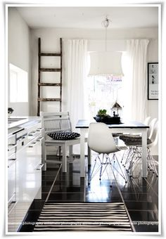 kitchen table black top white legs idea