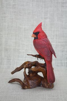 Northern Cardinal Wood Carving, Hand Carved Bird, Bird Sculpture, Wildlife Art, Bird Carving, Bird Figurine, Woodcarving By Mike Berlin by BerlinGlass on Etsy