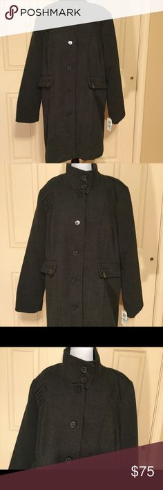 Style & Co NWT Plus size heavy polyester coat  20W Gray gorgeous coat with very fine detail.  NWT  from Macys. Fully lined. Style & Co Jackets & Coats