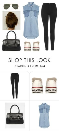"""Inspired casual birthday dinner outfit worn with hair in a messy bun for a hot, humid, rainy day."" by thecalderlookbook ❤ liked on Polyvore featuring Topshop, Converse, Fiorelli and Ray-Ban"