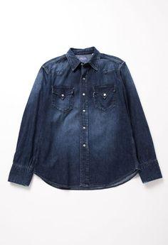 Vintage wash denim shirt  Blue Blue Japan