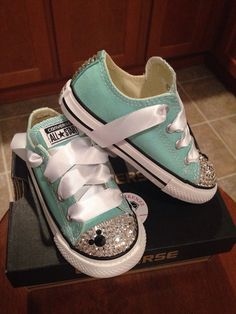Mint Disney Mickey Mouse Bling Converse by Munchkenzz on Etsy Baby Girl Shoes, My Baby Girl, Baby Love, Girls Shoes, Baby Girl Converse, Cute Kids, Cute Babies, Baby Kids, Basson