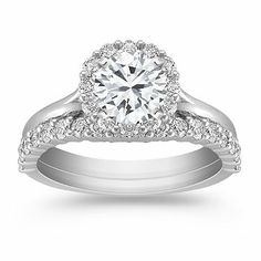 This one is everything that I would say I want, but I just keep picturing the other one. Shane Company Halo Pave Set Diamond Wedding Set (Engagement Ring & Wedding Band)