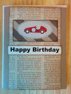 Happy Birthday Race Car 3 Card by Cindysnoopy on Etsy, $3.50