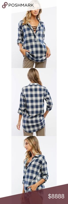 Sun Valley Blue Pullover Plaid Top You'll be livin' the dream one the Sun Valley Navy Plaid Pullover Top is in your life! This cozy plaid top has a navy and white plaid print, 3/4 rolled up sleeves with concealed buttons and a curved hem. 100% Cotton.  . . If you would like to make an offer, please use the OFFER BUTTON. {10% discount on all 2+ orders} . . FOLLOW US✌️ Insta : shop.likenarly Facebook: likenarly Website : likeNarly.com likeNarly Tops