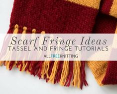 Add texture and style to your knitted scarves with these charming and simple fringe ideas. Explore long fringe, bulky fringe, tassels & more! All Free Knitting, Easy Scarf Knitting Patterns, Easy Knitting Projects, Finger Knitting, Crochet Patterns, Knitting Ideas, Crochet Ideas, Knitted Hats, Knitted Scarves