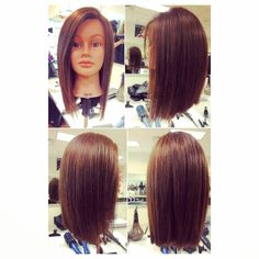 Long bob with a flat iron finish for a sharp edgy look