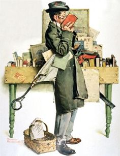 A bookworm at a book sale! We've all known the heady feeling. Reading Book painting by Norman Rockwell