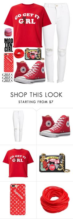 """Loud and Proud: Girl Pride"" by swimwearlover on Polyvore featuring DL1961 Premium Denim, Converse, Miss Selfridge, Moschino, womensHistoryMonth, pressforprogress and GirlPride"
