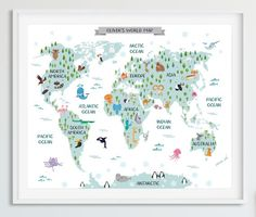 World map poster, travel nursery decor, world map wall art canvas, adventure awaits print Kids World Map, World Map Canvas, World Map Poster, World Map Wall Art, World Map Printable, Printable Wall Art, Free Printable, Travel Nursery, Maps For Kids