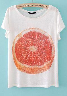 White Citrus Junos Print Collarless Cotton T-shirt