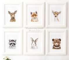 Wild Baby Animals Portrait Set, Woodland Nursery Art, Woodland animals print set of 6, Animal prints for nursery, Giclee, Deer, Bear, Fox