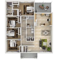 "Four Bedroom Floor Plans 50 four ""4"" bedroom apartment/house plans 