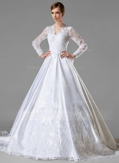 Ball-Gown V-neck Chapel Train Satin Wedding Dress With Ruffle Appliques Lace Bow(s) (002004745) - JJsHouse