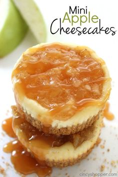 MINI APPLE CHEESECAKES ==INGREDIENTS==  20 oz Apple Pie Filling, 1/2 cup Graham Cracker crumbs, 2 tbsp melted Butter, 8 oz softened Cream Cheese, 1/4 cup Sugar, 1 Egg, 1 tsp Vanilla====