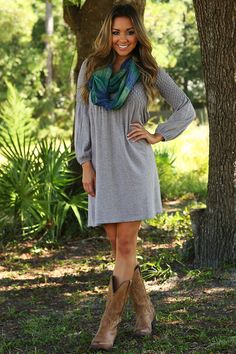 Stay Out Too Late Dress: Heather Gray #shophopes