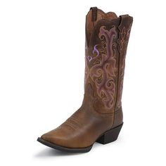 Justin Vintage Buffalo Stampede Cowgirl Boots ($145) ❤ liked on Polyvore