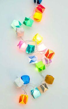 pisca de balões de origami, lampadas de LED