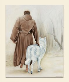 Francis of Assisi with white wolf Catholic Art, Catholic Saints, Patron Saints, Religious Art, Ste Claire, Wolf Walking, St Francisco, Clare Of Assisi, Wolf Poster