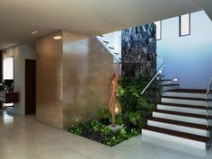 Escaleras con jardín