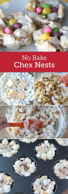 Four ingredients are all you need to make these too-cute Easter snacks! Butter, mini marshmallows and Chex mix (shaped in a muffin tin) make the no-bake nests, while jelly beans sit perfectly in the middle as little eggs. Use these treats to decorate your Easter spread, or serve them as an extra sweet at the dessert table.