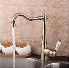 DE Schwenkauslauf Kitchen Sink Wasserhahn Mischbatterie Einhebel Antik messing