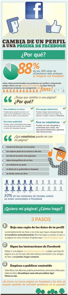 Por qué cambiar de un perfil a un Fan Page #infografia