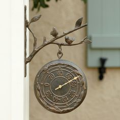 Bird Wall Clock & Thermometer | Inspired by perched birds, this sturdy aluminum outdoor clock might be the chicest way to track time while working in the garden or enjoying tea time on your terrace. A built-in thermometer displays the temperature on the other side of the clock face.