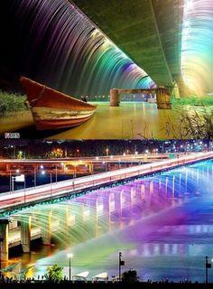 Double decker fountain bridge at night