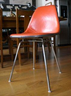 Vintage Eames shell chair, orange