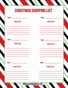 Free christmas gift list template